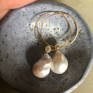 Celine Jewelry - Céline baroque pearl crystal hoop earrings